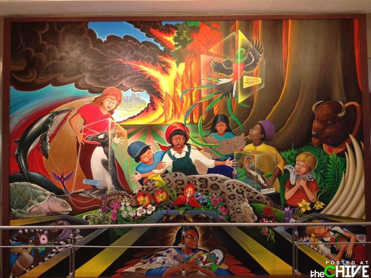 MURAL INSIDE THE DENVER AIRPORT... PAINTING DEATH AND DESTRUCTION FOR HUMANITY
