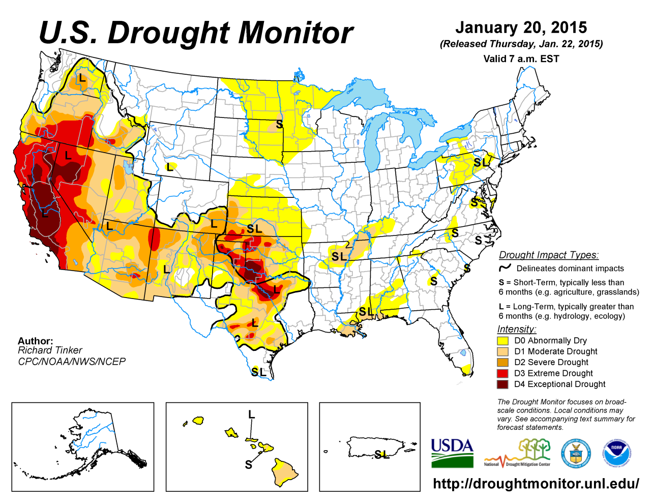 THE CURRENT US DROUGHT MAP 2015