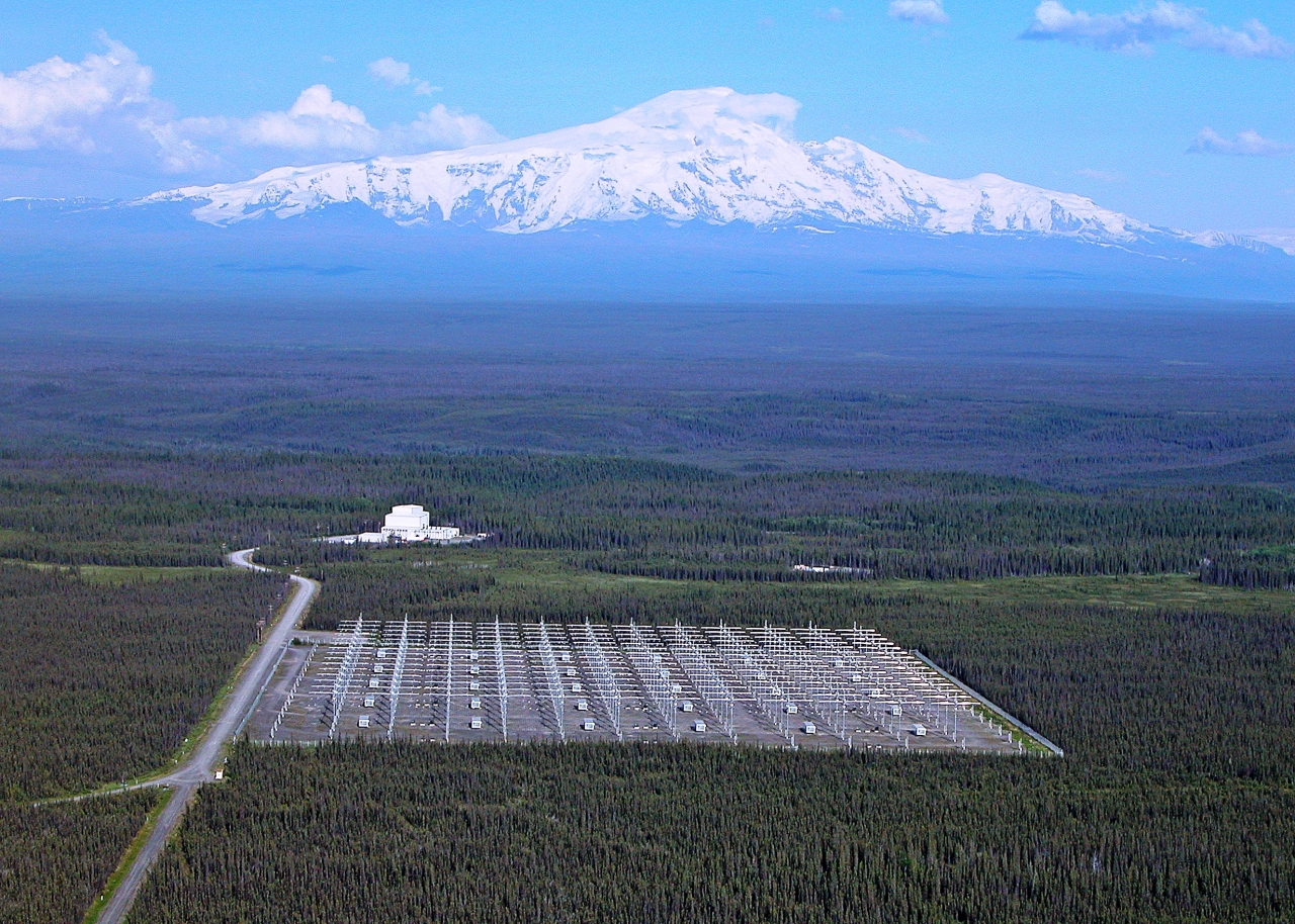 An aerial view of the H.A.A.R.P. facility in Gakona, Alaska.