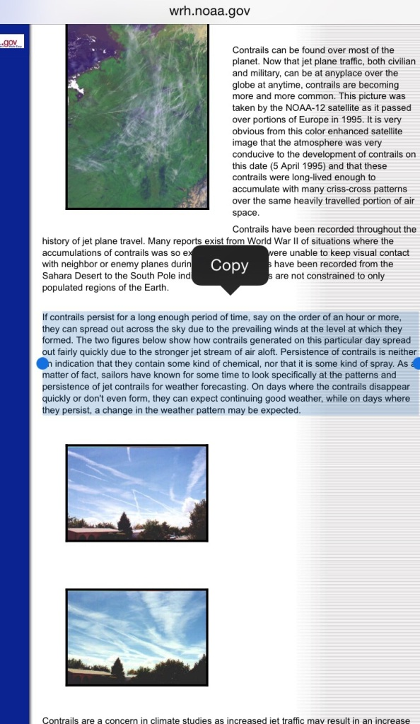 Explanation of chemtrails from NOAA.gov
