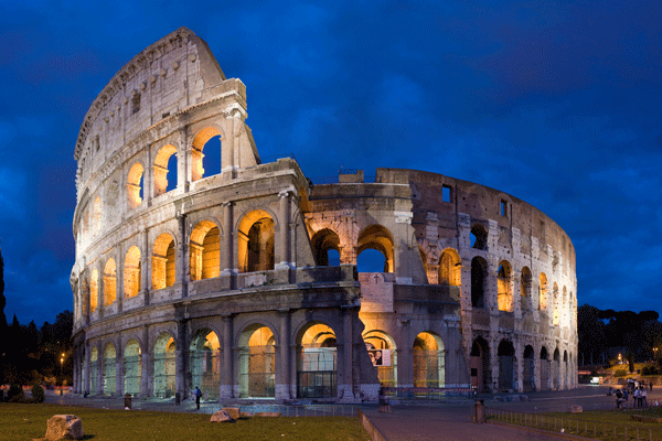 THE ROMAN COLISEUM, ONE OF THE ANCIENT WONDERS OF THE WORLD