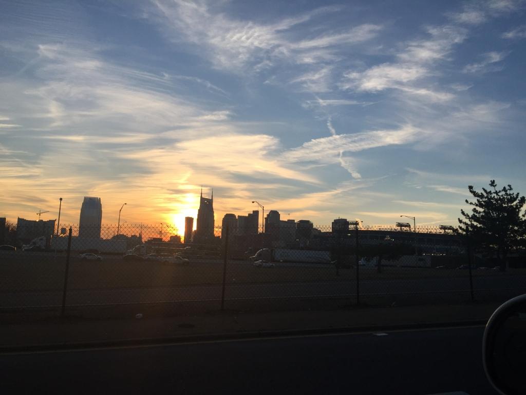Nashville, TN getting sprayed at sunset.